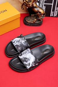 louis vuitton slippers cheap old graffiti black